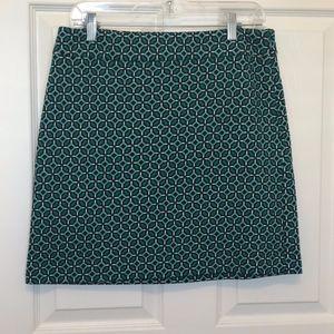 Loft Teal Print A-Line Skirt Size 6